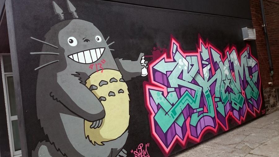 Totoro as a spray artist
