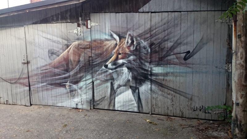 Fox aerosol mural - Li Hill