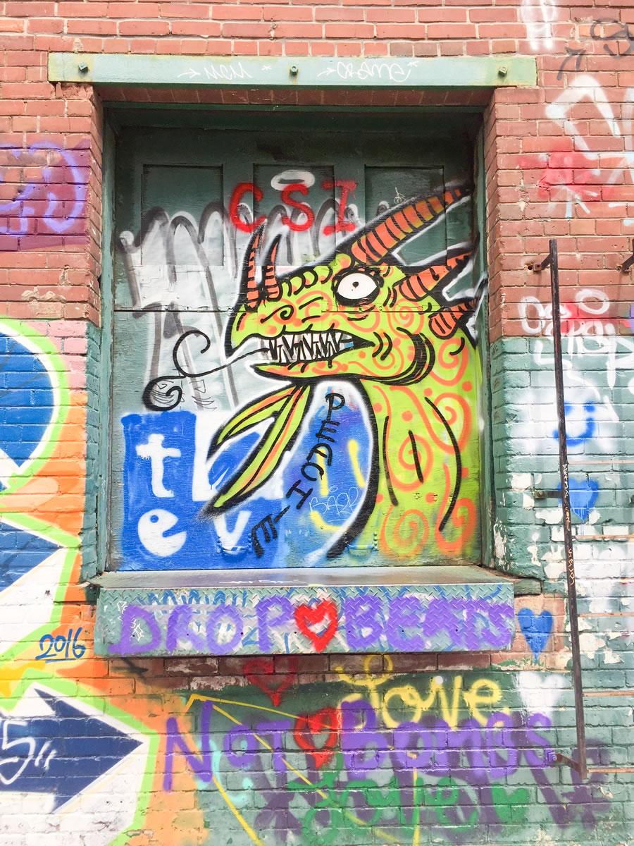 Original Toronto Street Graffiti of a lizard in a back alley