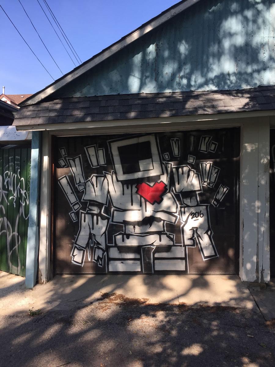 Garage door mural by LoveBot