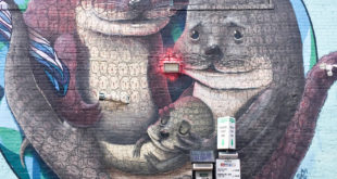 Mural artwork with otters