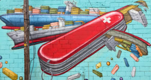 Swiss army knife artwork mural