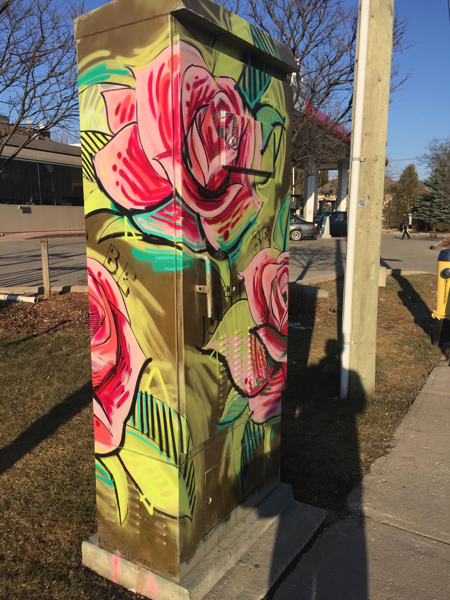 Roses on Utility Traffic Box