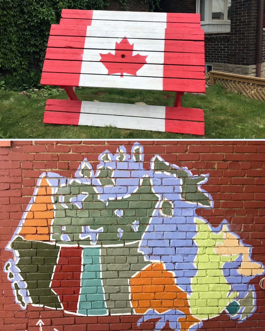map of Canadian painted on wall
