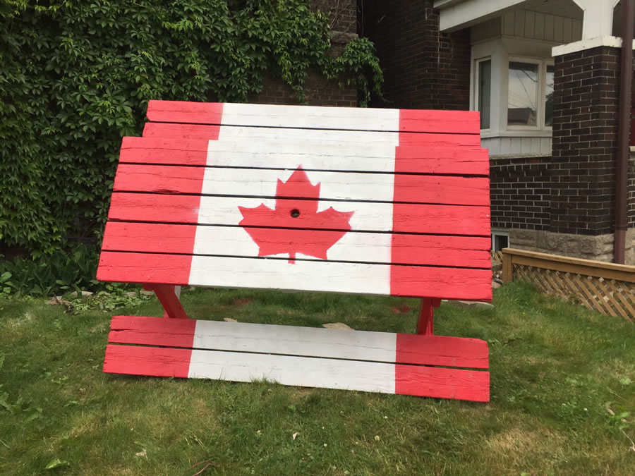 canadian flag on picnic table
