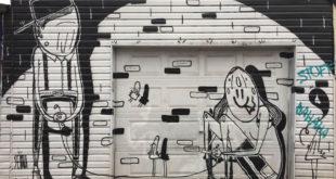 B&W aerosol mural Alex Senna