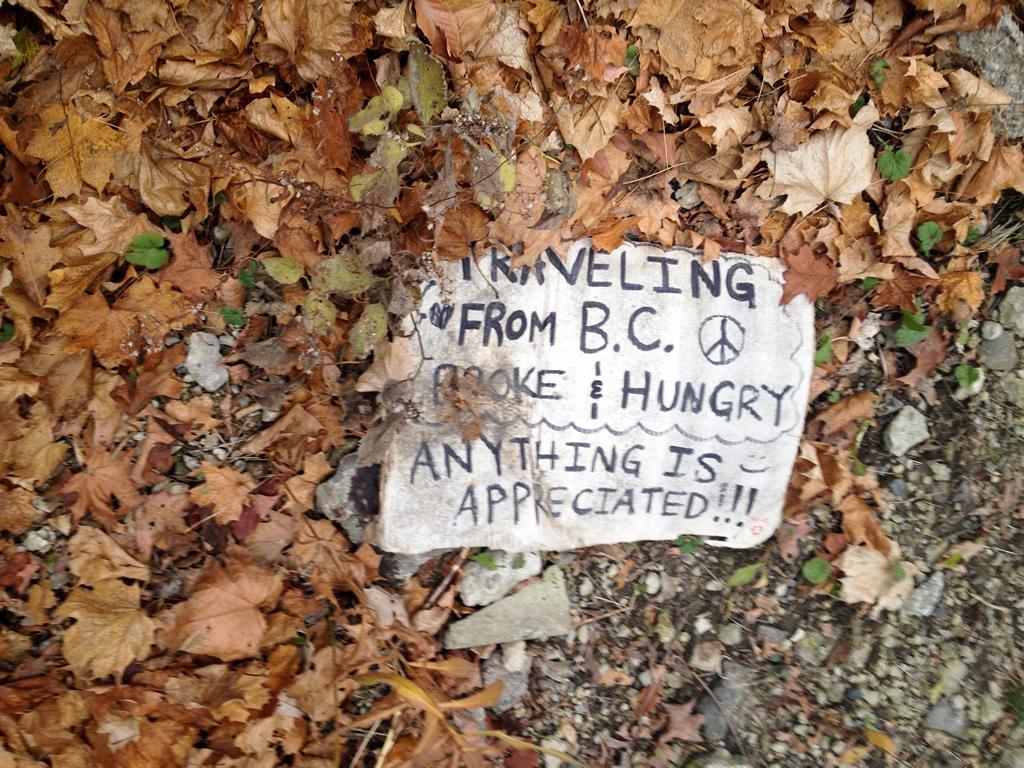 Sign found under underpass