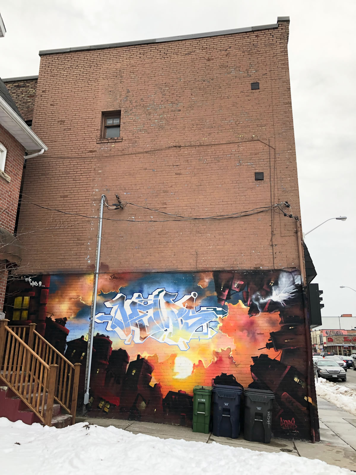 """That mural by Hemps has been there for years and never gets tagged. Says """"If 6 were a 9"""""""